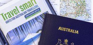 australien pass biljett panorama 300x146 - Sydney, Australia - Jun 1, 2019: Australian Passport And Smart Travel Hints Booklet On Top Of A Map.