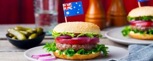 hamburgare australien panorama 300x120 - Burger With Australian Flag On Top. Wooden Background. Close Up